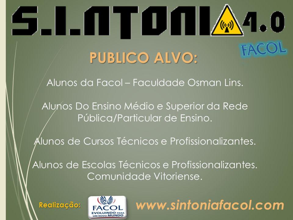 Realização: PUBLICO ALVO: Alunos da Facol – Faculdade Osman Lins.