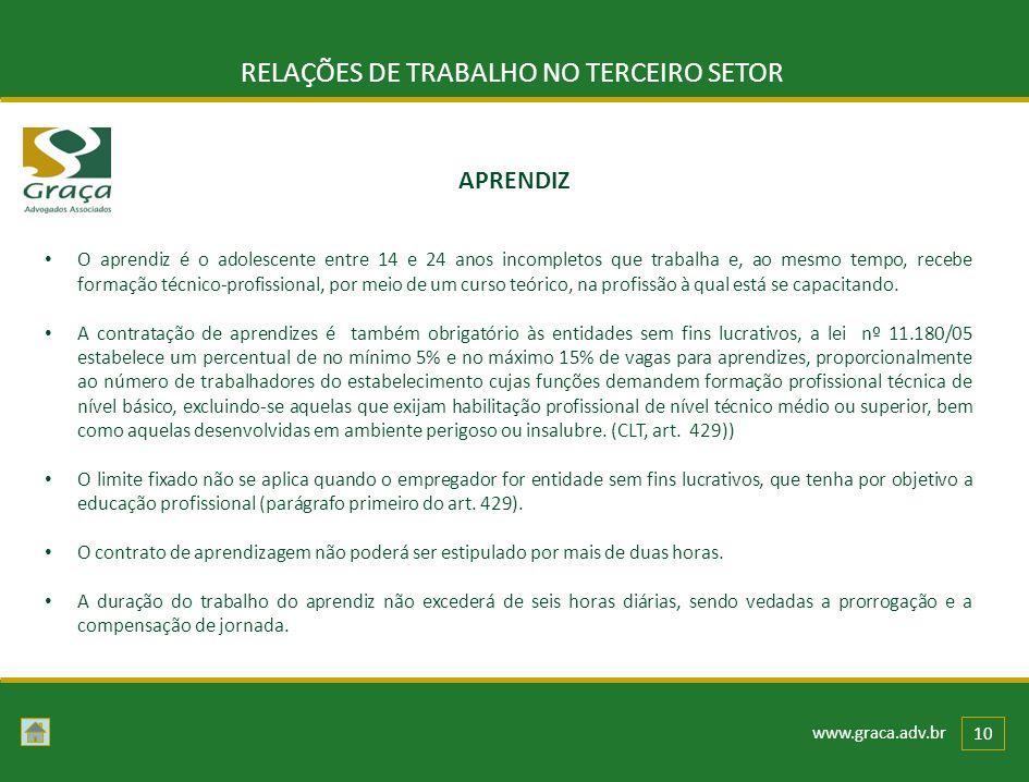 www.graca.adv.br 10 RELAÇÕES DE TRABALHO NO TERCEIRO SETOR O aprendiz é o adolescente entre 14 e 24 anos incompletos que trabalha e, ao mesmo tempo, r
