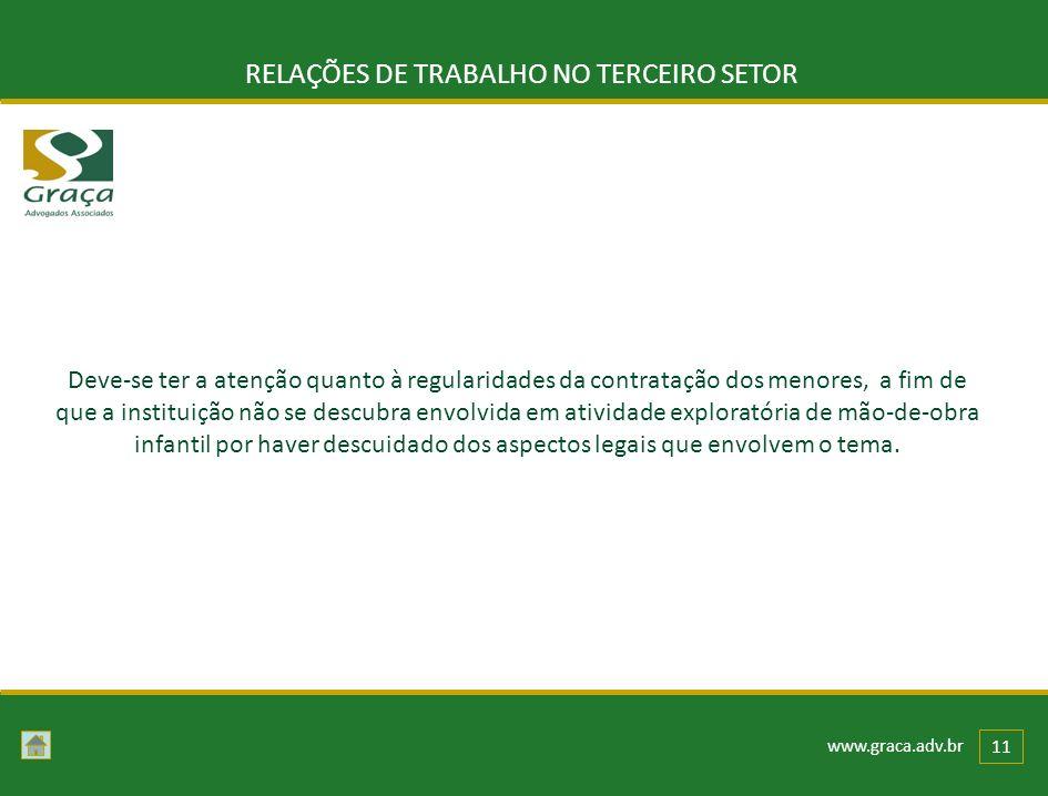 www.graca.adv.br 11 RELAÇÕES DE TRABALHO NO TERCEIRO SETOR Deve-se ter a atenção quanto à regularidades da contratação dos menores, a fim de que a ins