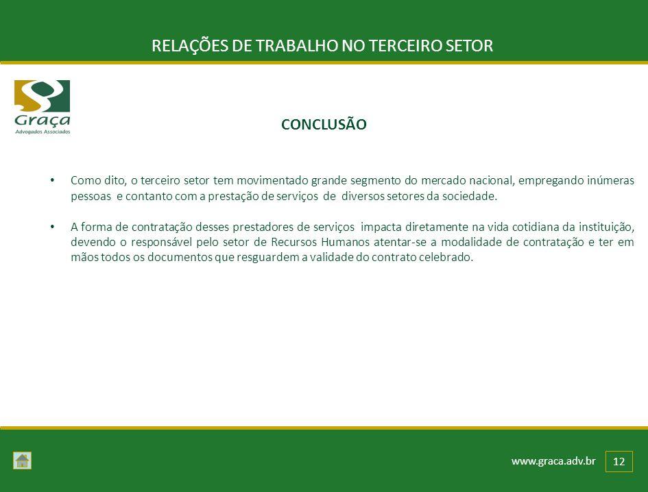 www.graca.adv.br 12 RELAÇÕES DE TRABALHO NO TERCEIRO SETOR CONCLUSÃO Como dito, o terceiro setor tem movimentado grande segmento do mercado nacional,