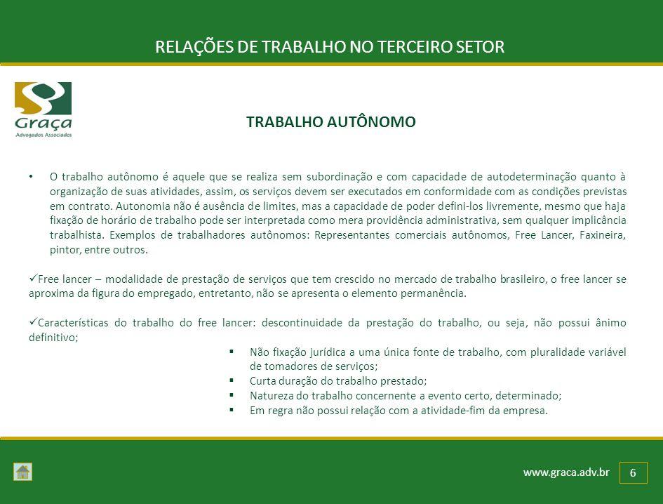 www.graca.adv.br 6 RELAÇÕES DE TRABALHO NO TERCEIRO SETOR O trabalho autônomo é aquele que se realiza sem subordinação e com capacidade de autodetermi
