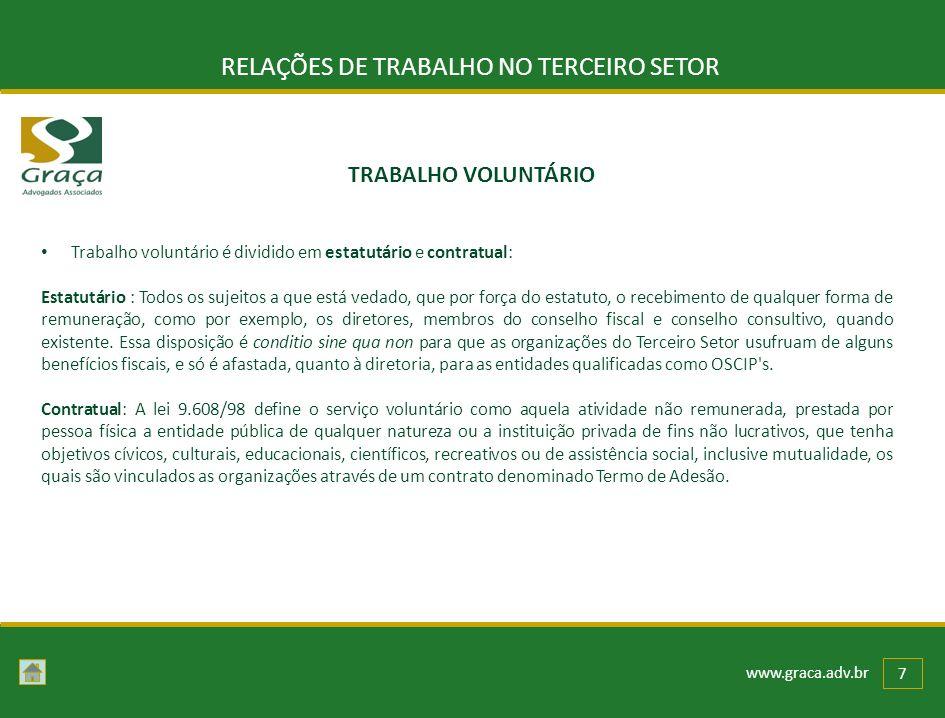 www.graca.adv.br 7 RELAÇÕES DE TRABALHO NO TERCEIRO SETOR Trabalho voluntário é dividido em estatutário e contratual: Estatutário : Todos os sujeitos