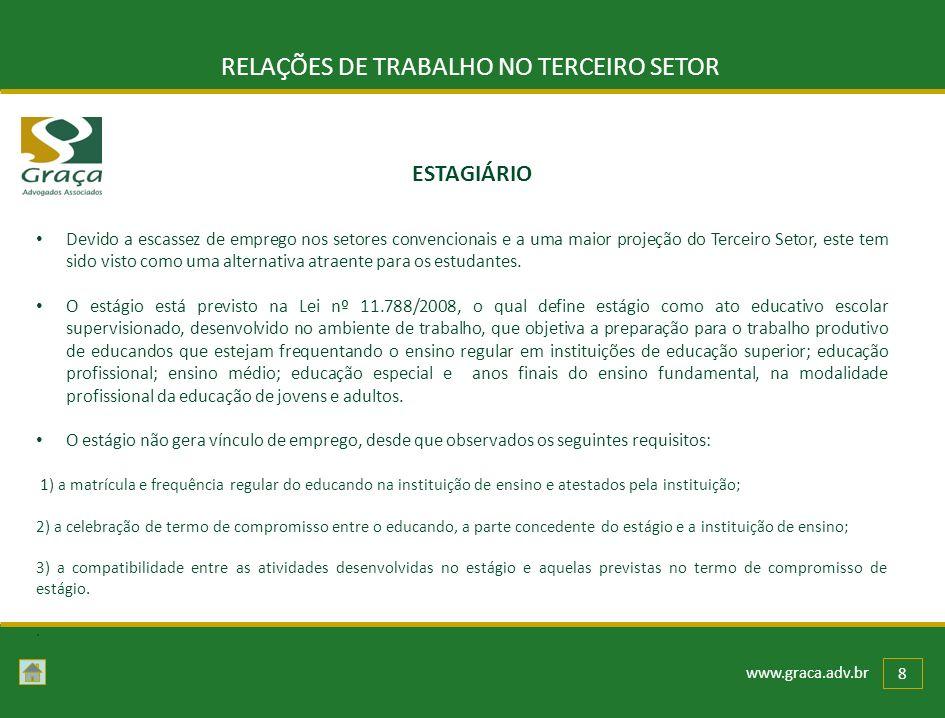 www.graca.adv.br 8 RELAÇÕES DE TRABALHO NO TERCEIRO SETOR Devido a escassez de emprego nos setores convencionais e a uma maior projeção do Terceiro Se