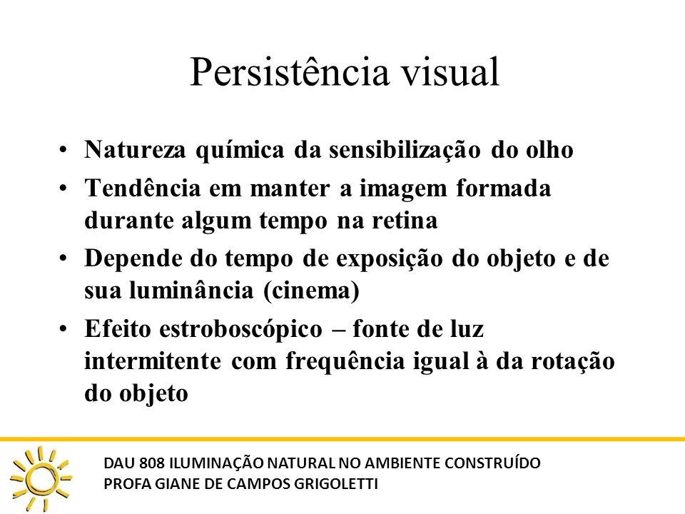 Persistência visual Natureza química da sensibilização do olho Tendência em manter a imagem formada durante algum tempo na retina Depende do tempo de