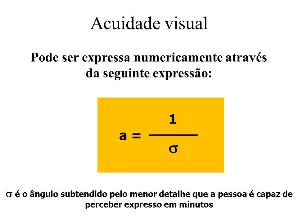 Acuidade visual Pode ser expressa numericamente através da seguinte expressão: a = 1 é o ângulo subtendido pelo menor detalhe que a pessoa é capaz de