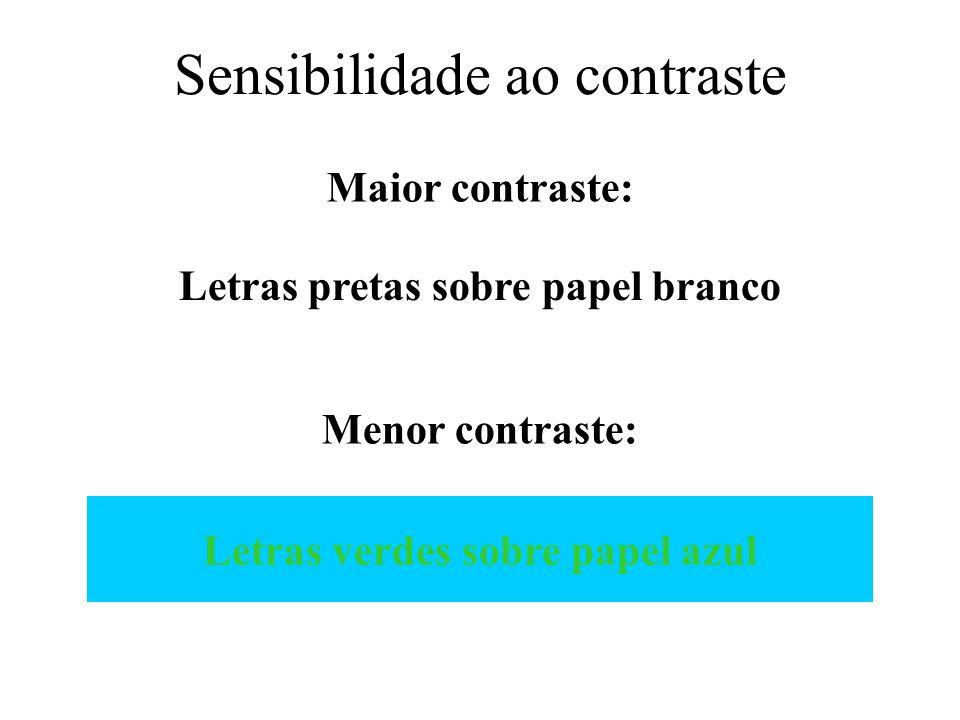 Sensibilidade ao contraste Maior contraste: Menor contraste: Letras pretas sobre papel branco Letras verdes sobre papel azul
