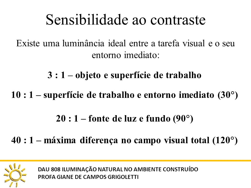 Sensibilidade ao contraste Existe uma luminância ideal entre a tarefa visual e o seu entorno imediato: 3 : 1 – objeto e superfície de trabalho 10 : 1