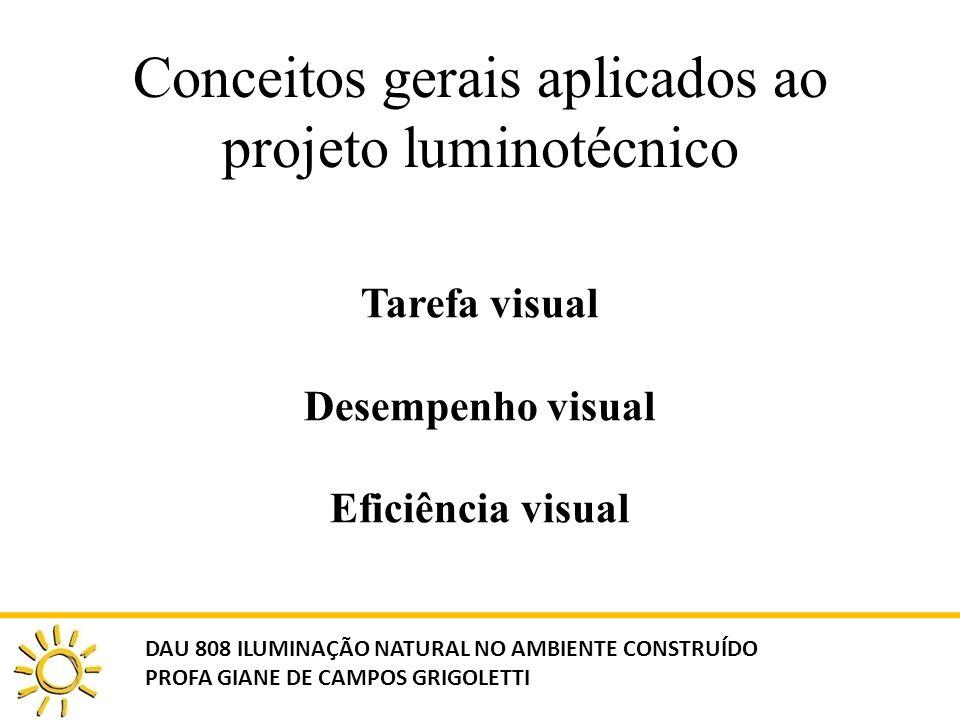 Conceitos gerais aplicados ao projeto luminotécnico Tarefa visual Desempenho visual Eficiência visual DAU 808 ILUMINAÇÃO NATURAL NO AMBIENTE CONSTRUÍD