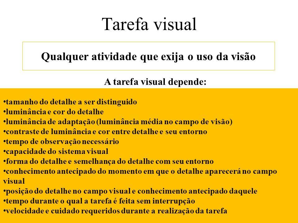 Tarefa visual Qualquer atividade que exija o uso da visão A tarefa visual depende: tamanho do detalhe a ser distinguido luminância e cor do detalhe lu