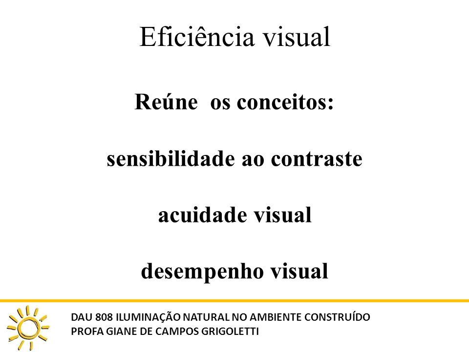 Eficiência visual Reúne os conceitos: sensibilidade ao contraste acuidade visual desempenho visual DAU 808 ILUMINAÇÃO NATURAL NO AMBIENTE CONSTRUÍDO P