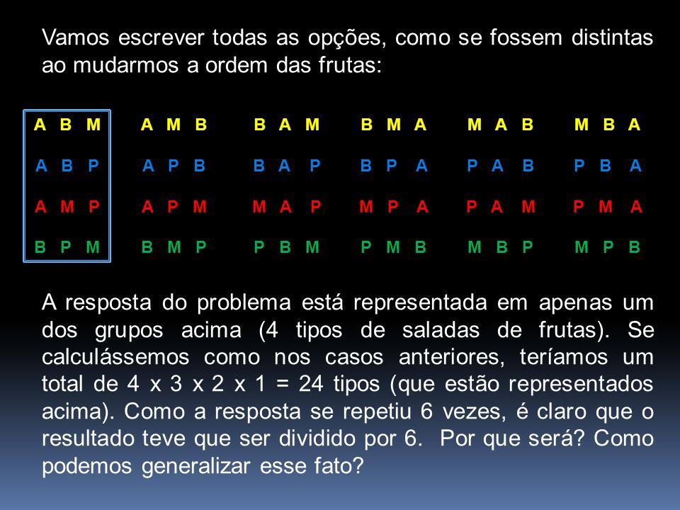 Vamos escrever todas as opções, como se fossem distintas ao mudarmos a ordem das frutas: A B M A B P A M P B P M B A M B A P M A P P B M M A B P A B P A M M B P A M B A P B A P M B M P B M A B P A M P A P M B M B A P B A P M A M P B A resposta do problema está representada em apenas um dos grupos acima (4 tipos de saladas de frutas).