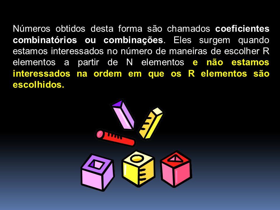 Números obtidos desta forma são chamados coeficientes combinatórios ou combinações. Eles surgem quando estamos interessados no número de maneiras de e