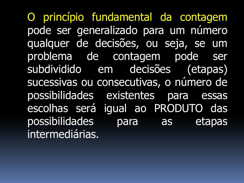 O princípio fundamental da contagem pode ser generalizado para um número qualquer de decisões, ou seja, se um problema de contagem pode ser subdividid