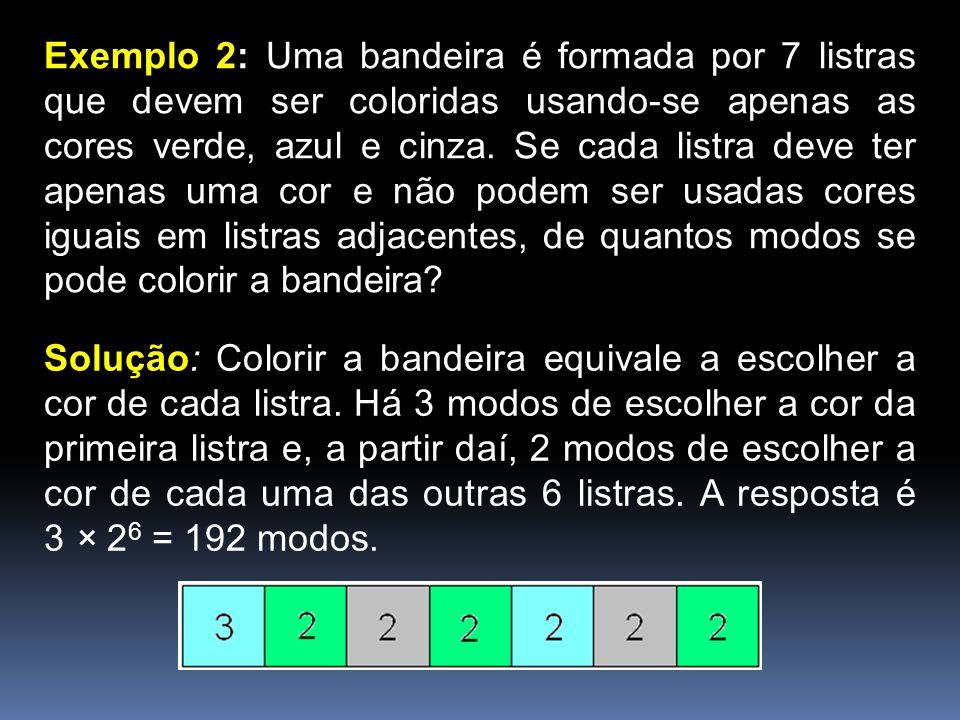 Exemplo 2: Uma bandeira é formada por 7 listras que devem ser coloridas usando-se apenas as cores verde, azul e cinza. Se cada listra deve ter apenas