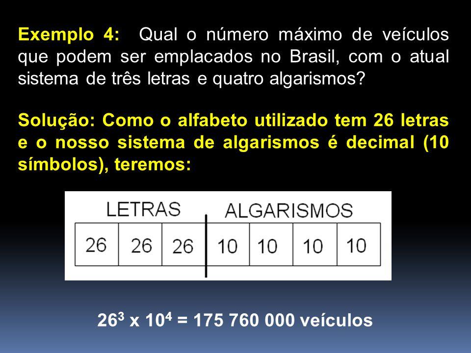Exemplo 4: Qual o número máximo de veículos que podem ser emplacados no Brasil, com o atual sistema de três letras e quatro algarismos? Solução: Como