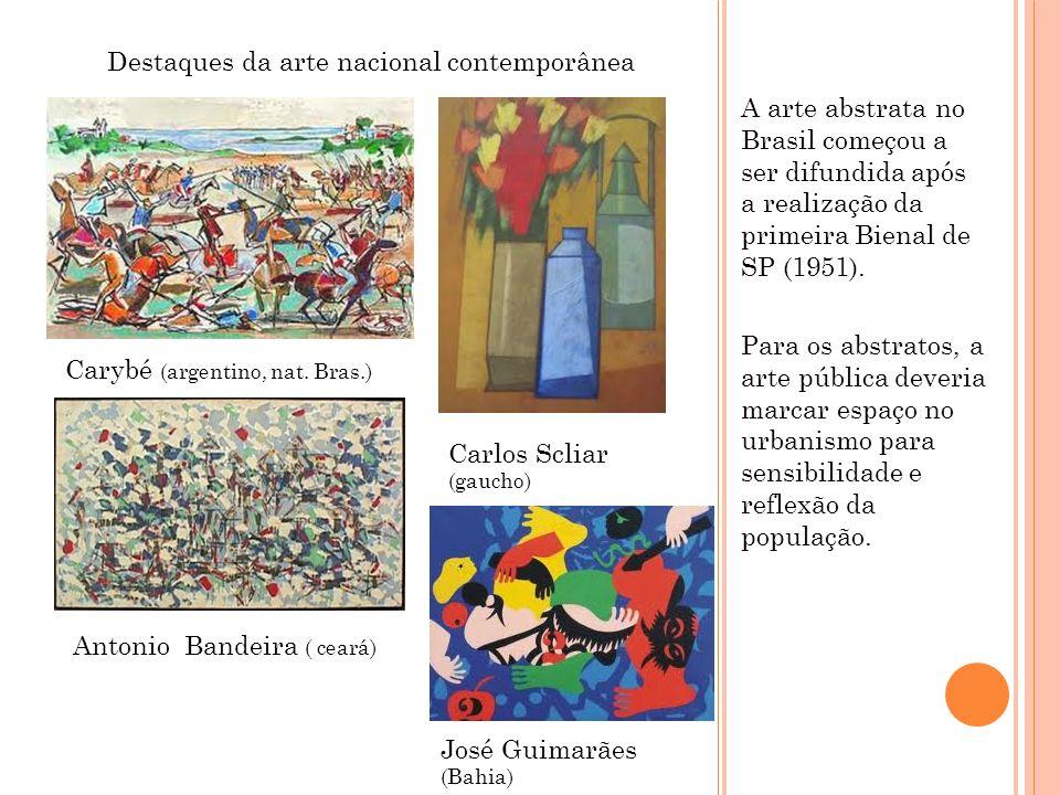 A arte abstrata no Brasil começou a ser difundida após a realização da primeira Bienal de SP (1951). Para os abstratos, a arte pública deveria marcar
