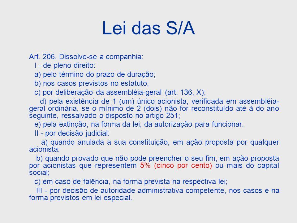 Lei das S/A Art. 206. Dissolve-se a companhia: I - de pleno direito: a) pelo término do prazo de duração; b) nos casos previstos no estatuto; c) por d