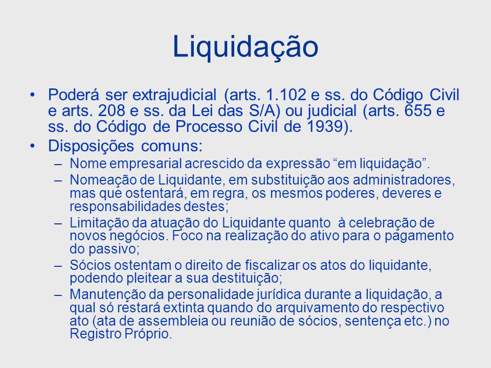 Liquidação Poderá ser extrajudicial (arts. 1.102 e ss. do Código Civil e arts. 208 e ss. da Lei das S/A) ou judicial (arts. 655 e ss. do Código de Pro