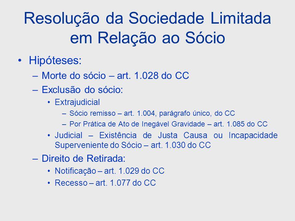 Resolução da Sociedade Limitada em Relação ao Sócio Hipóteses: –Morte do sócio – art. 1.028 do CC –Exclusão do sócio: Extrajudicial –Sócio remisso – a