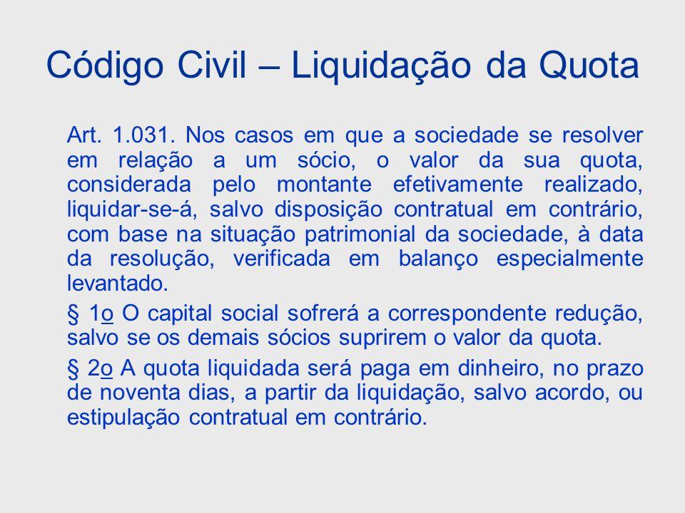 Código Civil – Liquidação da Quota Art. 1.031. Nos casos em que a sociedade se resolver em relação a um sócio, o valor da sua quota, considerada pelo