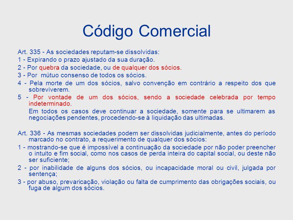 Código Comercial Art. 335 - As sociedades reputam-se dissolvidas: 1 - Expirando o prazo ajustado da sua duração. 2 - Por quebra da sociedade, ou de qu
