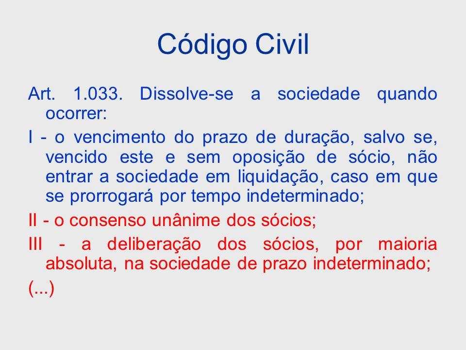 Código Civil Art. 1.033. Dissolve-se a sociedade quando ocorrer: I - o vencimento do prazo de duração, salvo se, vencido este e sem oposição de sócio,