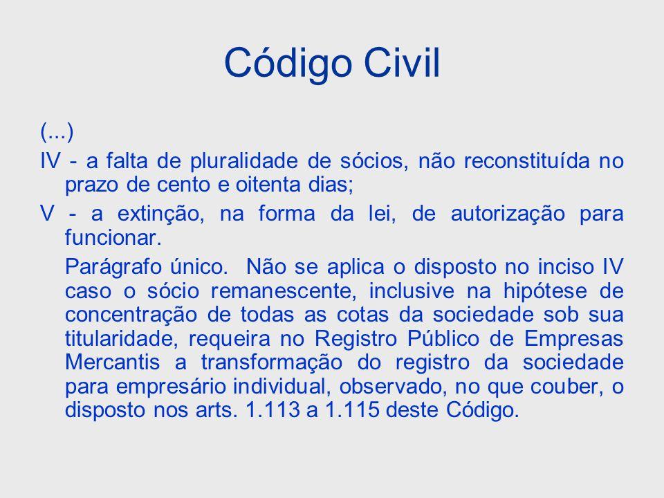 Código Civil (...) IV - a falta de pluralidade de sócios, não reconstituída no prazo de cento e oitenta dias; V - a extinção, na forma da lei, de auto