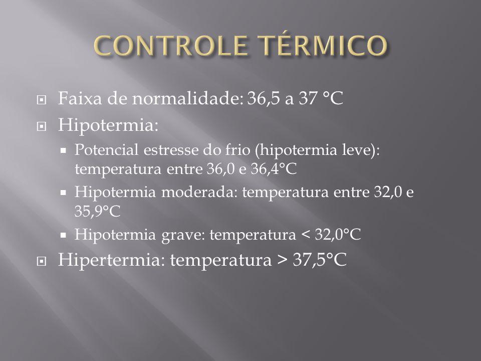 Faixa de normalidade: 36,5 a 37 °C Hipotermia: Potencial estresse do frio (hipotermia leve): temperatura entre 36,0 e 36,4°C Hipotermia moderada: temp