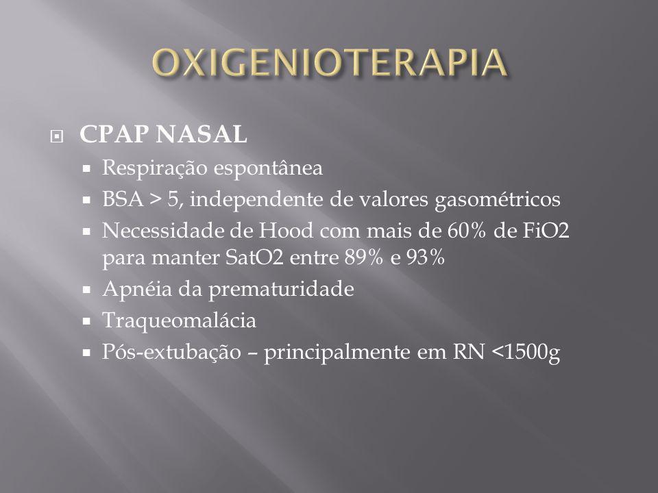 CPAP NASAL Respiração espontânea BSA > 5, independente de valores gasométricos Necessidade de Hood com mais de 60% de FiO2 para manter SatO2 entre 89%