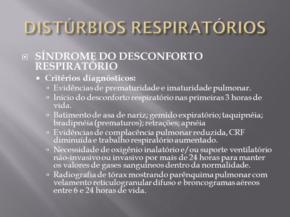 SÍNDROME DO DESCONFORTO RESPIRATÓRIO Critérios diagnósticos: Evidências de prematuridade e imaturidade pulmonar. Início do desconforto respiratório na