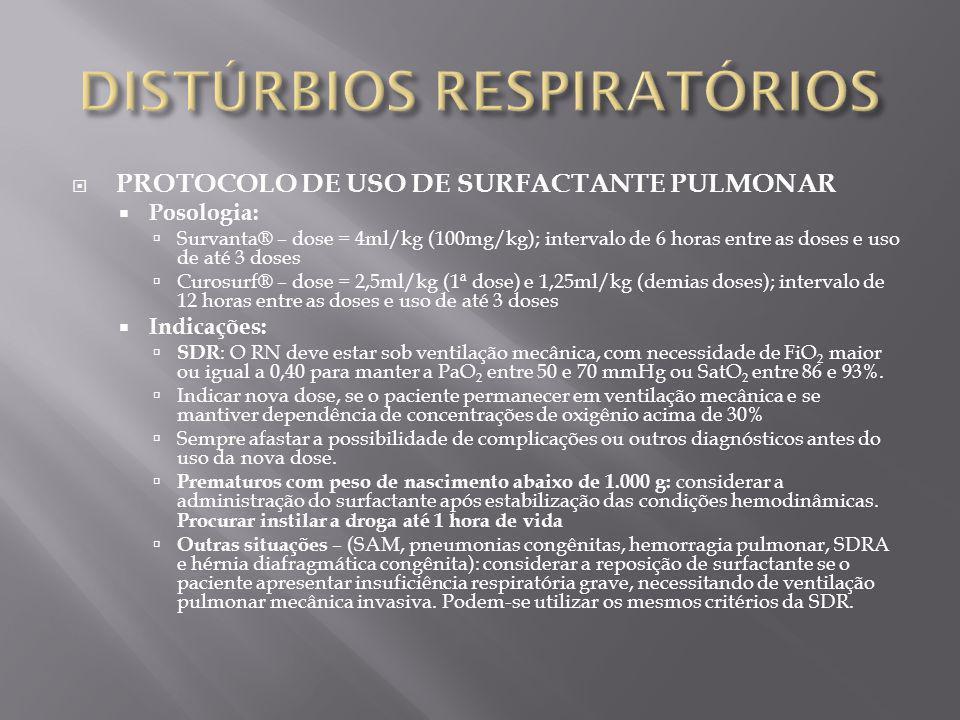 PROTOCOLO DE USO DE SURFACTANTE PULMONAR Posologia: Survanta® – dose = 4ml/kg (100mg/kg); intervalo de 6 horas entre as doses e uso de até 3 doses Cur