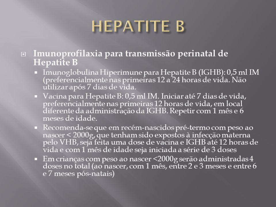 Imunoprofilaxia para transmissão perinatal de Hepatite B Imunoglobulina Hiperimune para Hepatite B (IGHB): 0,5 ml IM (preferencialmente nas primeiras