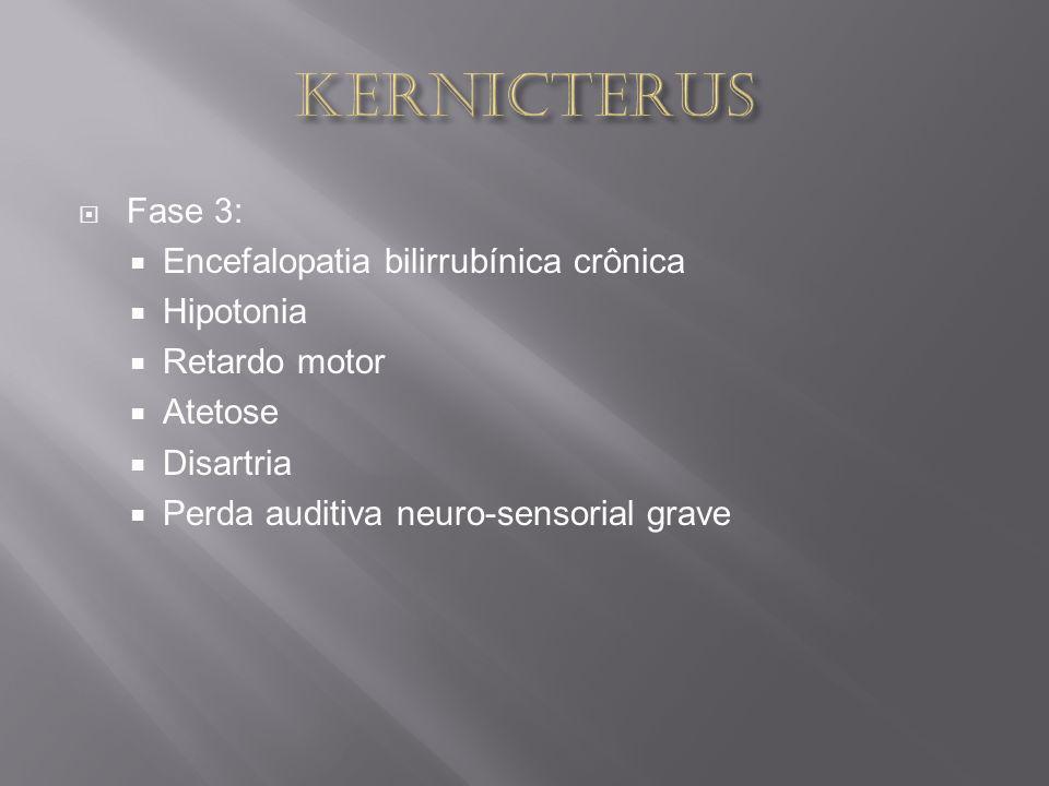 Fase 3: Encefalopatia bilirrubínica crônica Hipotonia Retardo motor Atetose Disartria Perda auditiva neuro-sensorial grave
