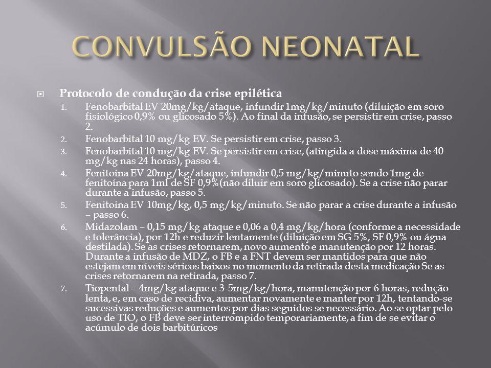 Protocolo de condução da crise epilética 1. Fenobarbital EV 20mg/kg/ataque, infundir 1mg/kg/minuto (diluição em soro fisiológico 0,9% ou glicosado 5%)
