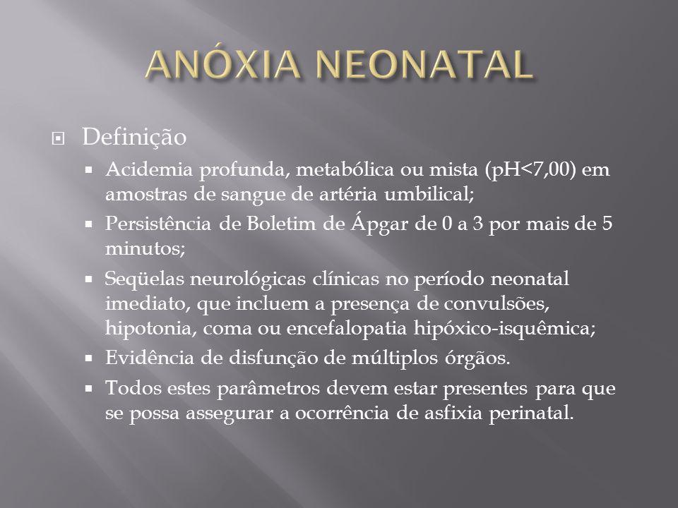 Definição Acidemia profunda, metabólica ou mista (pH<7,00) em amostras de sangue de artéria umbilical; Persistência de Boletim de Ápgar de 0 a 3 por m