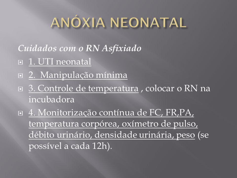 Cuidados com o RN Asfixiado 1. UTI neonatal 2. Manipulação mínima 3. Controle de temperatura, colocar o RN na incubadora 4. Monitorização contínua de
