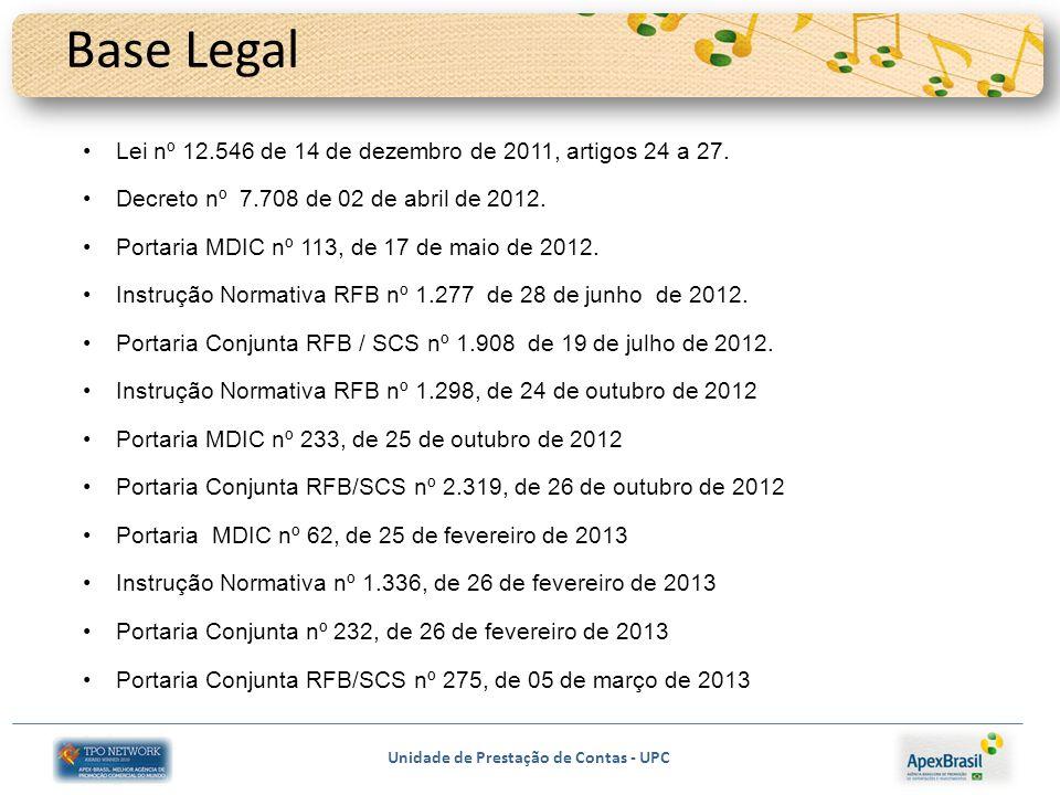 Unidade de Prestação de Contas - UPC Base Legal Lei nº 12.546 de 14 de dezembro de 2011, artigos 24 a 27. Decreto nº 7.708 de 02 de abril de 2012. Por