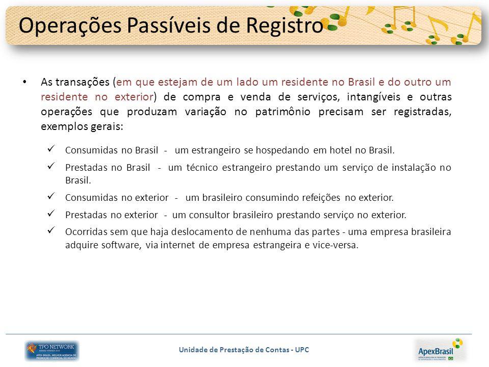 Unidade de Prestação de Contas - UPC Operações Passíveis de Registro As transações (em que estejam de um lado um residente no Brasil e do outro um res