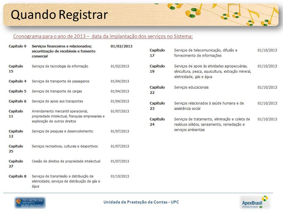 Unidade de Prestação de Contas - UPC Quando Registrar Cronograma para o ano de 2013 – data da implantação dos serviços no Sistema: