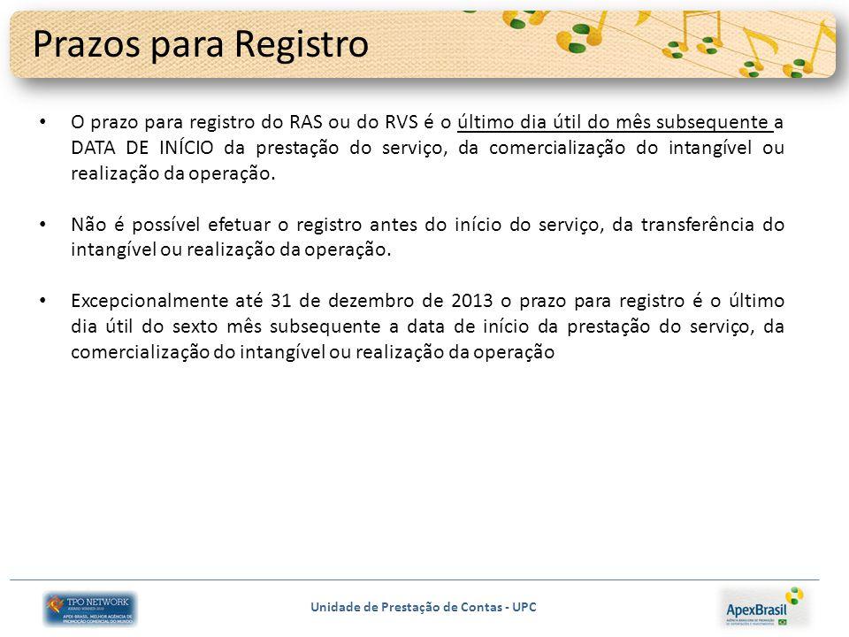 Unidade de Prestação de Contas - UPC Prazos para Registro O prazo para registro do RAS ou do RVS é o último dia útil do mês subsequente a DATA DE INÍCIO da prestação do serviço, da comercialização do intangível ou realização da operação.