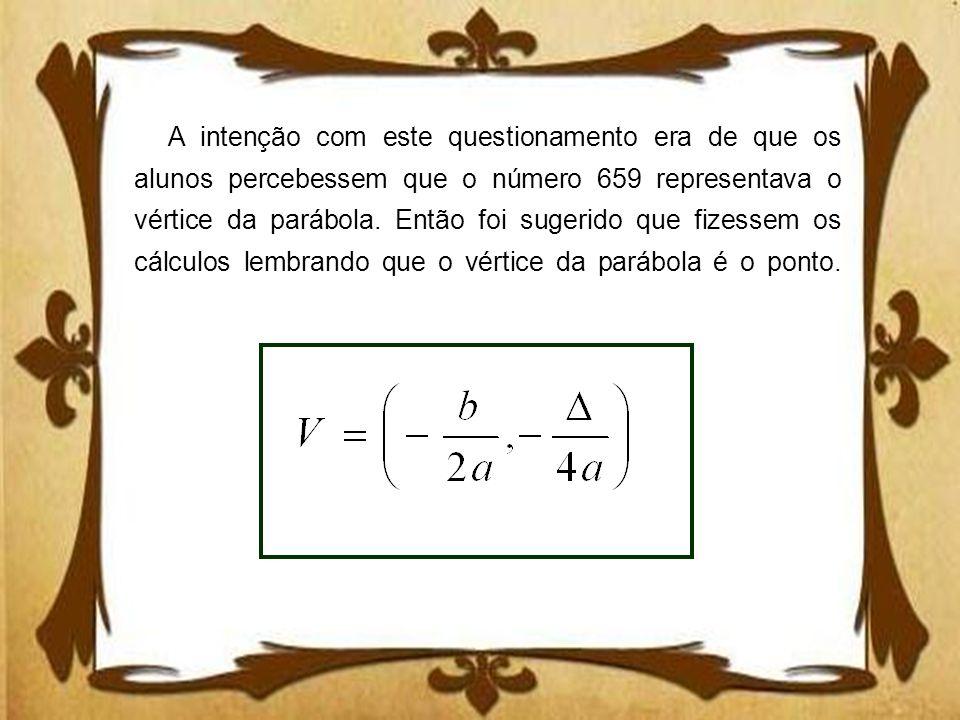 A intenção com este questionamento era de que os alunos percebessem que o número 659 representava o vértice da parábola. Então foi sugerido que fizess