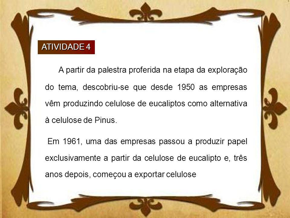 ATIVIDADE 4 A partir da palestra proferida na etapa da exploração do tema, descobriu-se que desde 1950 as empresas vêm produzindo celulose de eucalipt