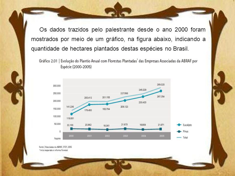 Os dados trazidos pelo palestrante desde o ano 2000 foram mostrados por meio de um gráfico, na figura abaixo, indicando a quantidade de hectares plant