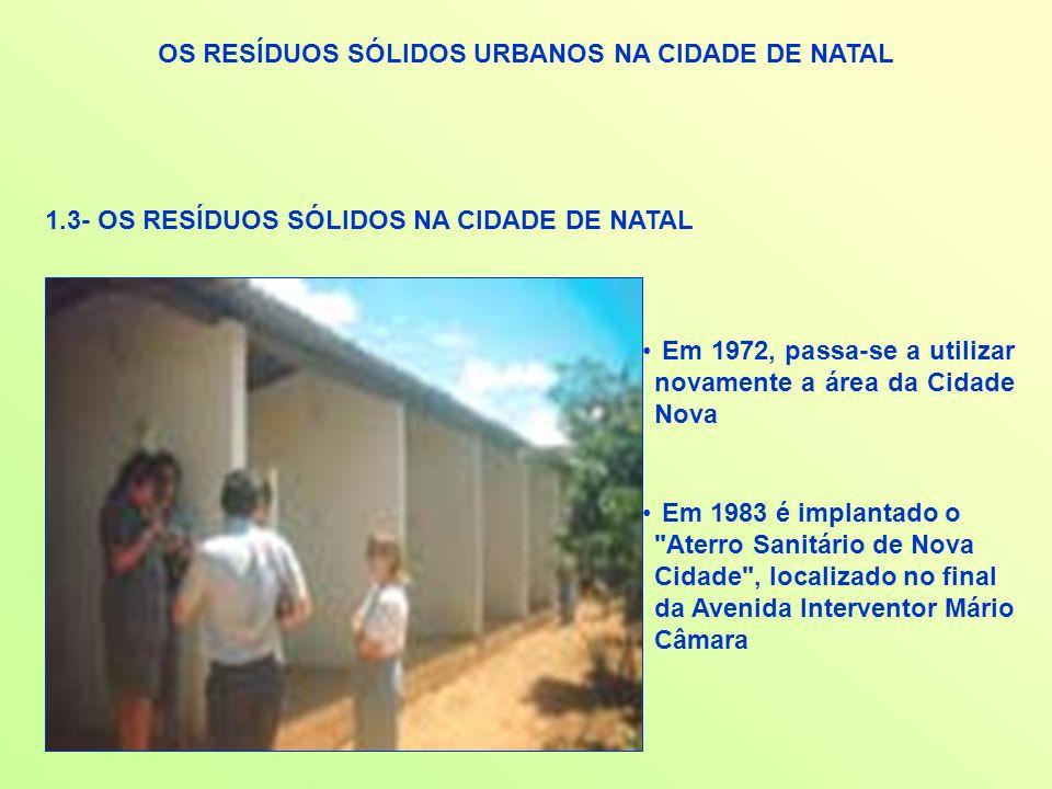 OS RESÍDUOS SÓLIDOS URBANOS NA CIDADE DE NATAL 1.3- OS RESÍDUOS SÓLIDOS NA CIDADE DE NATAL Em 1972, passa-se a utilizar novamente a área da Cidade Nov