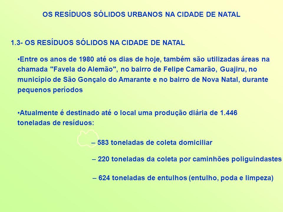 OS RESÍDUOS SÓLIDOS URBANOS NA CIDADE DE NATAL 1.3- OS RESÍDUOS SÓLIDOS NA CIDADE DE NATAL Entre os anos de 1980 até os dias de hoje, também são utili