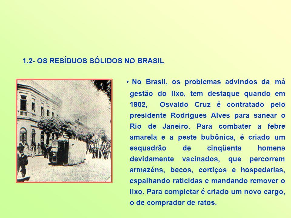 1.2- OS RESÍDUOS SÓLIDOS NO BRASIL No Brasil, os problemas advindos da má gestão do lixo, tem destaque quando em 1902, Osvaldo Cruz é contratado pelo