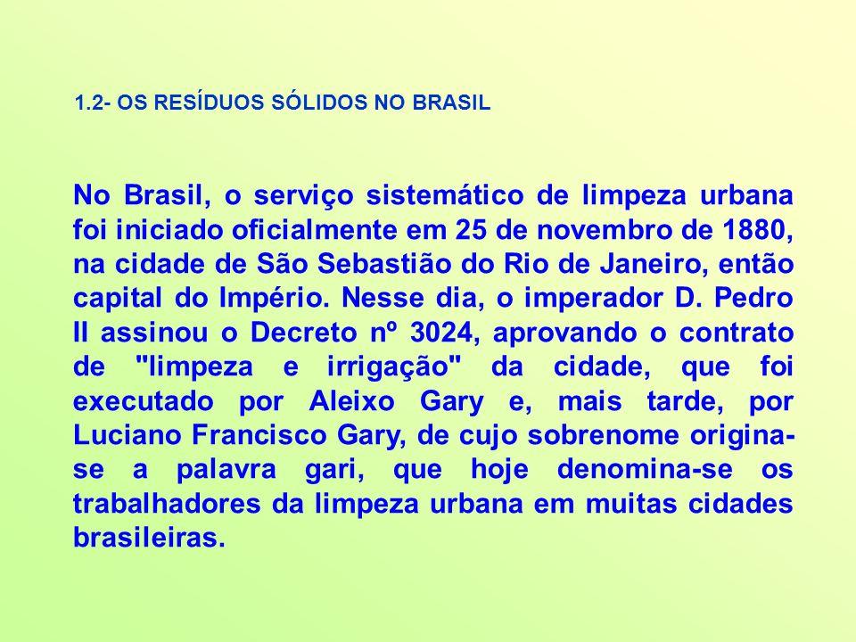1.2- OS RESÍDUOS SÓLIDOS NO BRASIL No Brasil, o serviço sistemático de limpeza urbana foi iniciado oficialmente em 25 de novembro de 1880, na cidade d