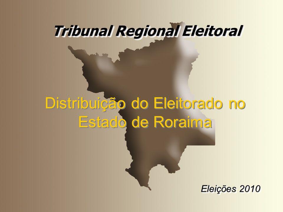 Tribunal Regional Eleitoral Eleições 2010 Tribunal Regional Eleitoral Eleições 2010 Distribuição do Eleitorado no Estado de Roraima