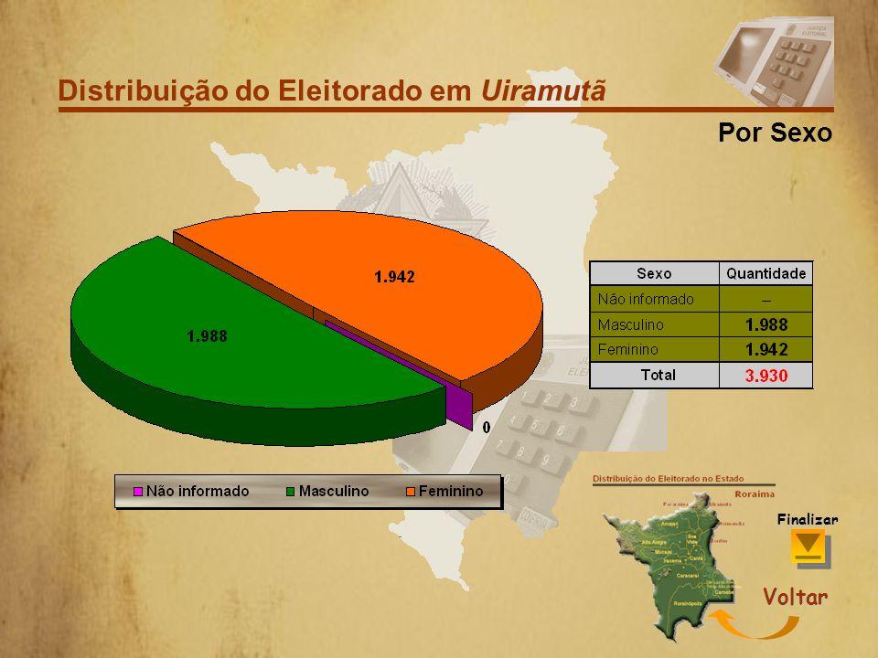 Distribuição do Eleitorado em Uiramutã Por Faixa Etária Voltar Finalizar