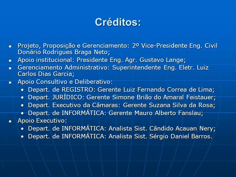 Créditos: Projeto, Proposição e Gerenciamento: 2º Vice-Presidente Eng. Civil Donário Rodrigues Braga Neto; Projeto, Proposição e Gerenciamento: 2º Vic